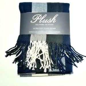 Plush Apparel Plaid Scarf with Fringe NWT